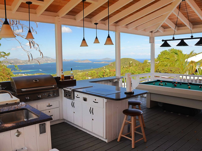 Spectacular views from the outdoor kitchen and billiard porch
